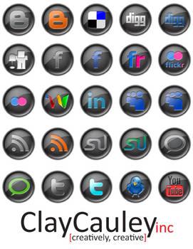 Black Button Social Media Icon