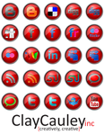 Red Button Social Media Icons