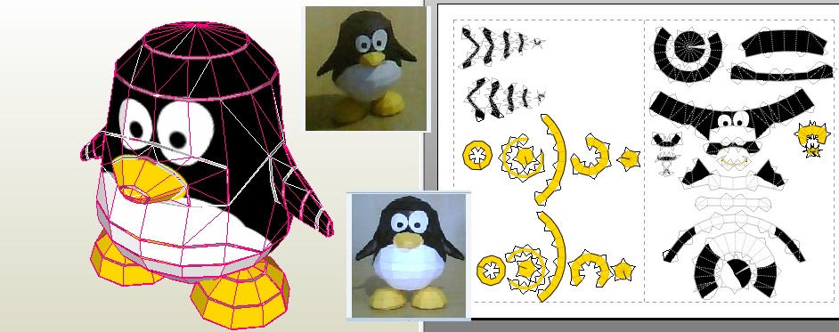 Tux papercraft by kethellen