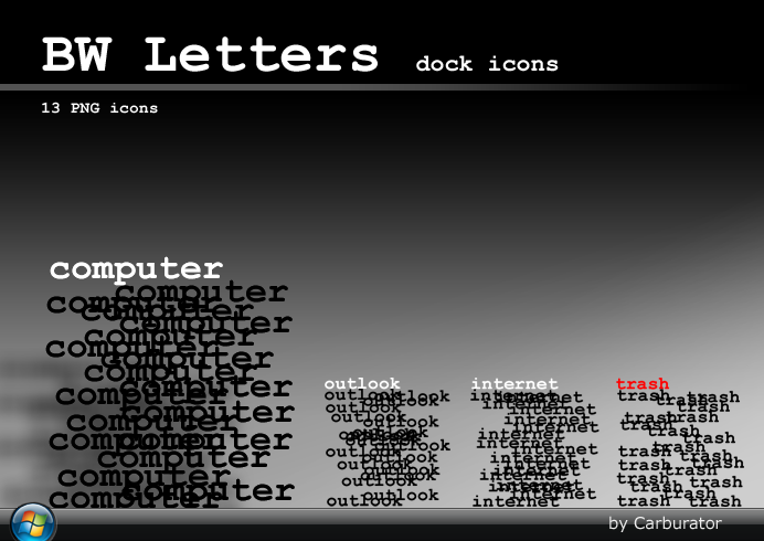 BW Letters dock icons by Carburator
