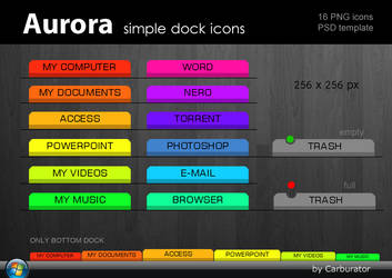 Aurora simple dock icons by Carburator
