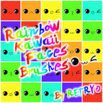 Rainbow Kawaii Faces Brushes