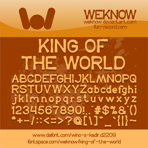 King Of The World font by weknow by weknow