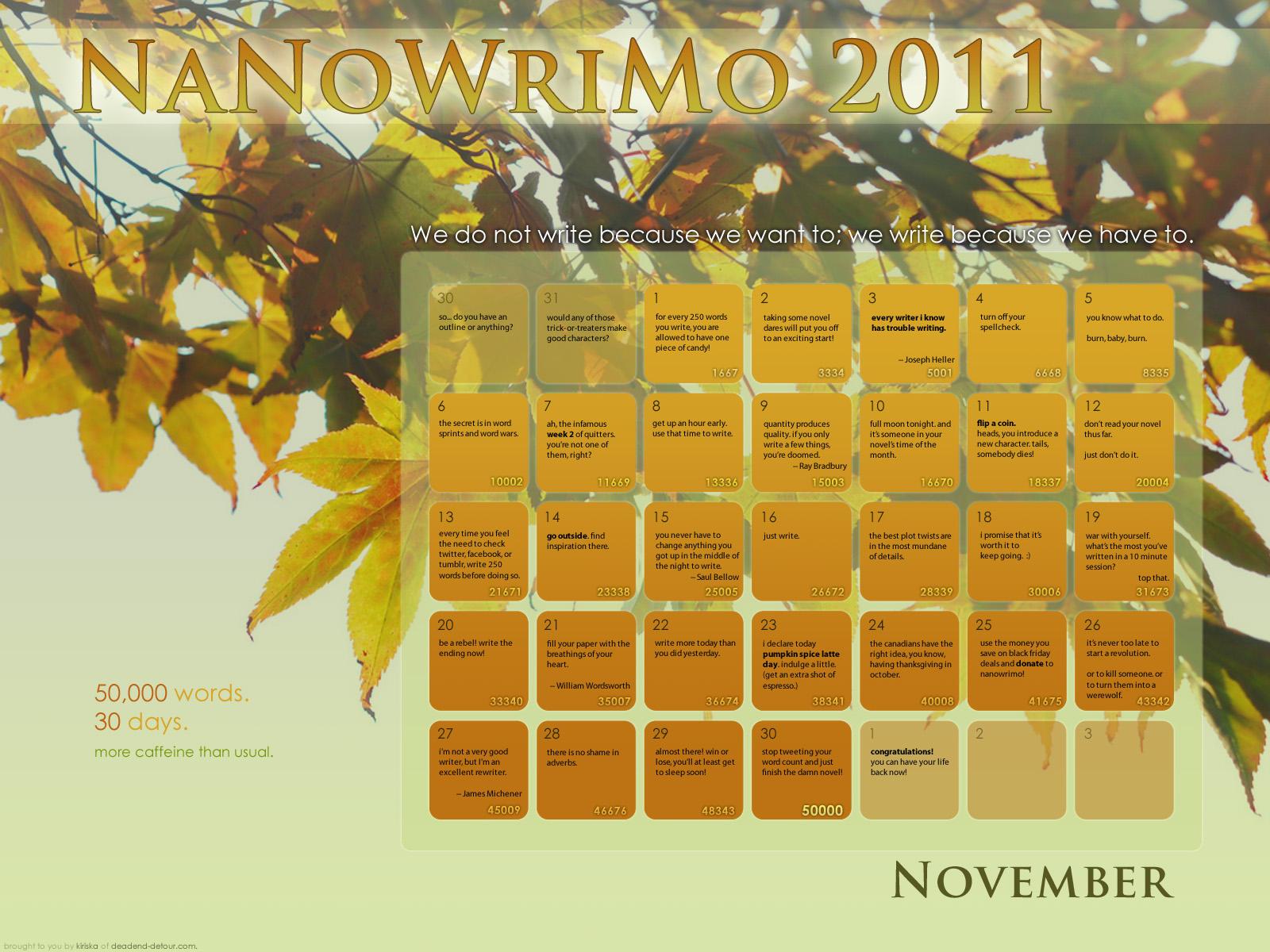 NaNoWriMo 2011 Calendar by Kiriska
