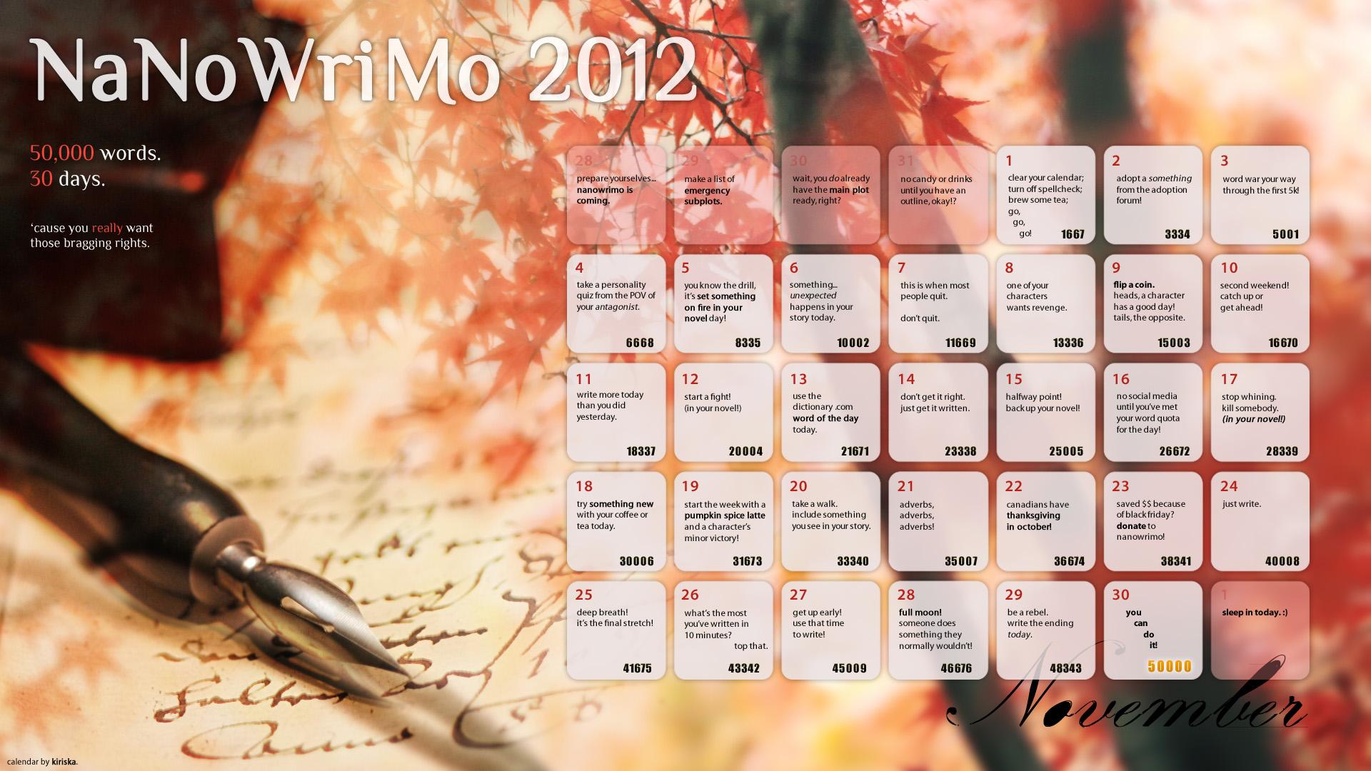 NaNoWriMo 2012 Calendar