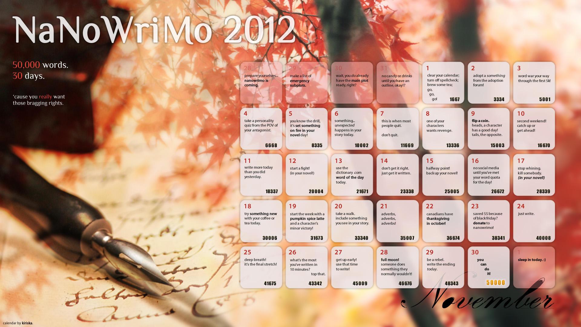 NaNoWriMo 2012 Calendar by Kiriska
