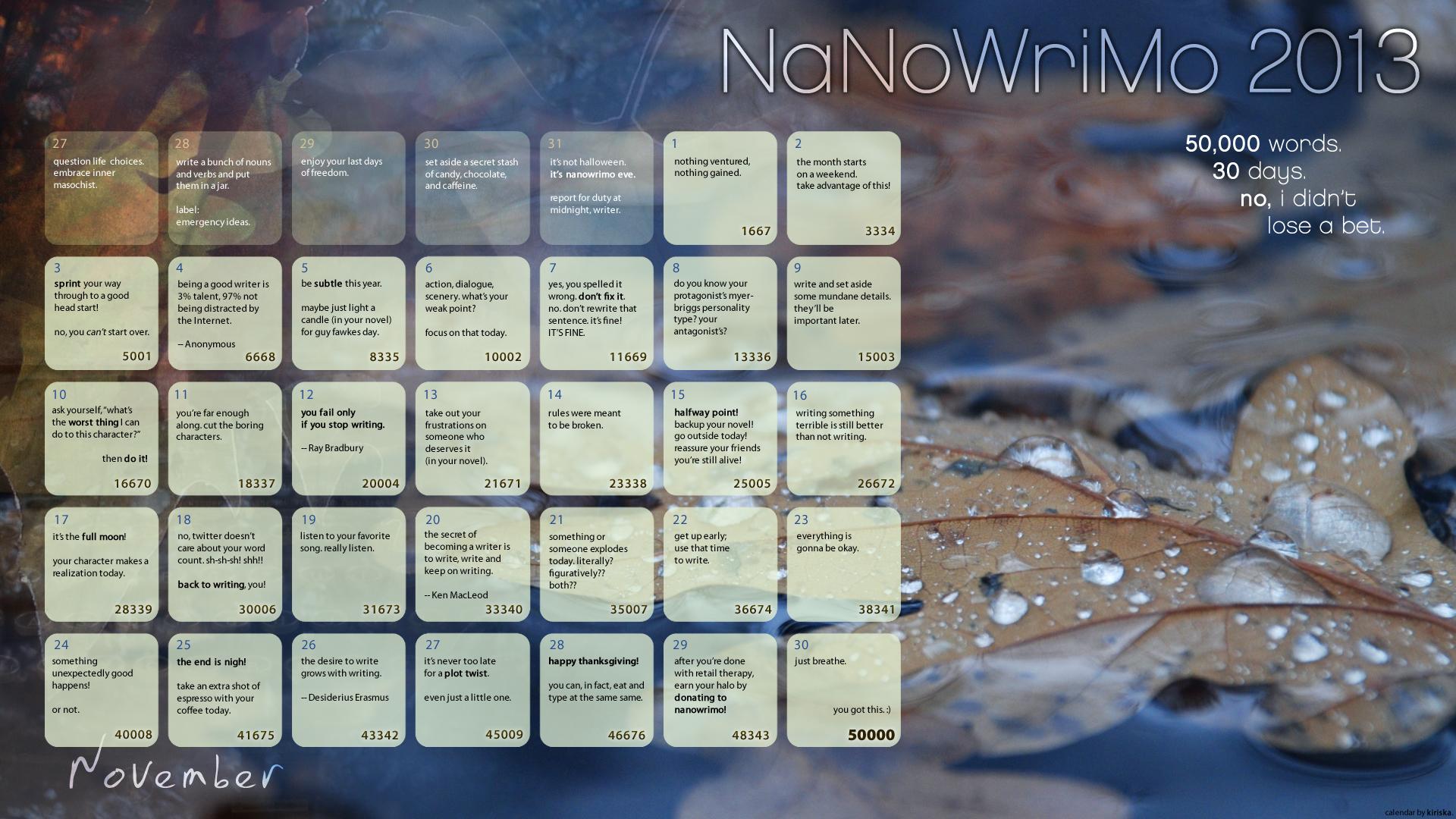 NaNoWriMo 2013 Calendar by Kiriska