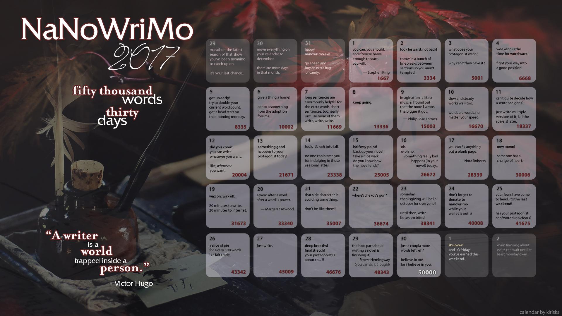 2017 NaNoWriMo Calendar by Kiriska