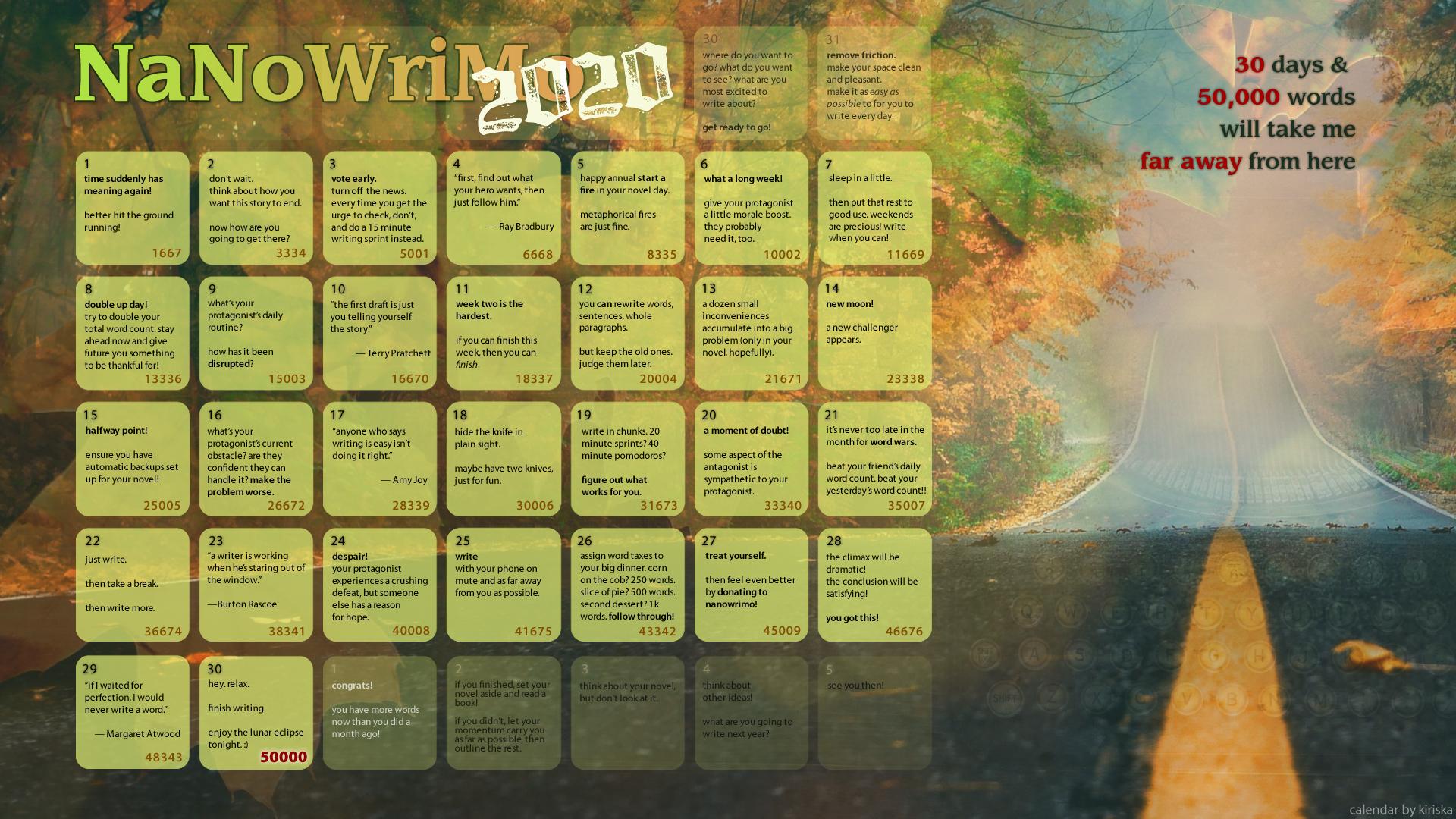 2020 NaNoWriMo Calendar