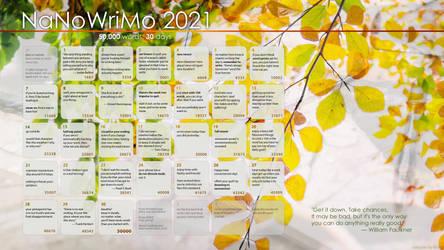 2021 NaNoWriMo Calendar