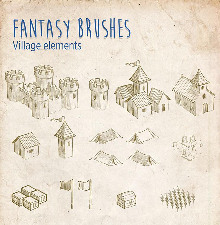 Fantasy Brushes - Village Elements by mrbiagy