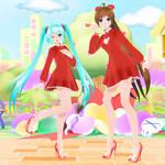 [MMD DL] TDA WYKP Sweet Heart Dress Miku + Amy
