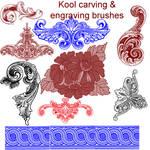 Kool flower engraving brushes