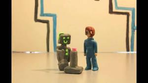 Robot Presses Button Stop Motion