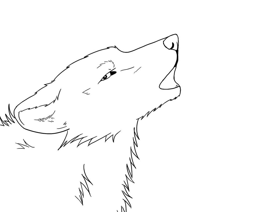 Free howling wolf lineart D Howling Wolf Lineart