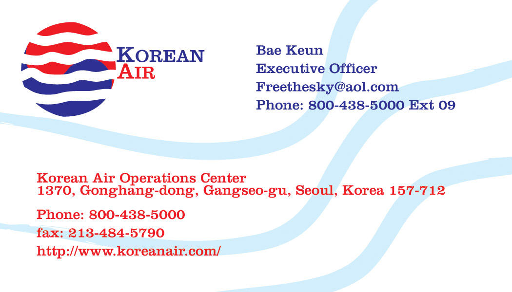 Korean Air Business Card Back by FreeTheCows on DeviantArt