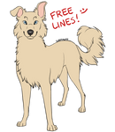 FREE: Fluffy Dog lineart