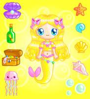 Golden Mermaid Doll by Princess-Peachie