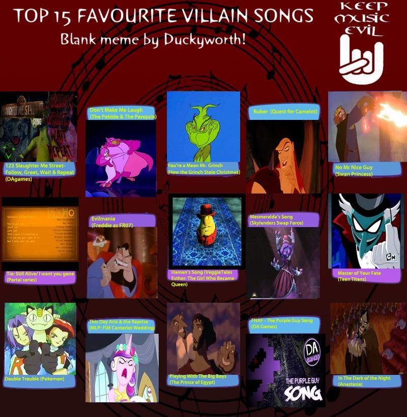 My Top 15 Favorite NonDisney Villain Songs meme by ...Disney Evil Queen Song