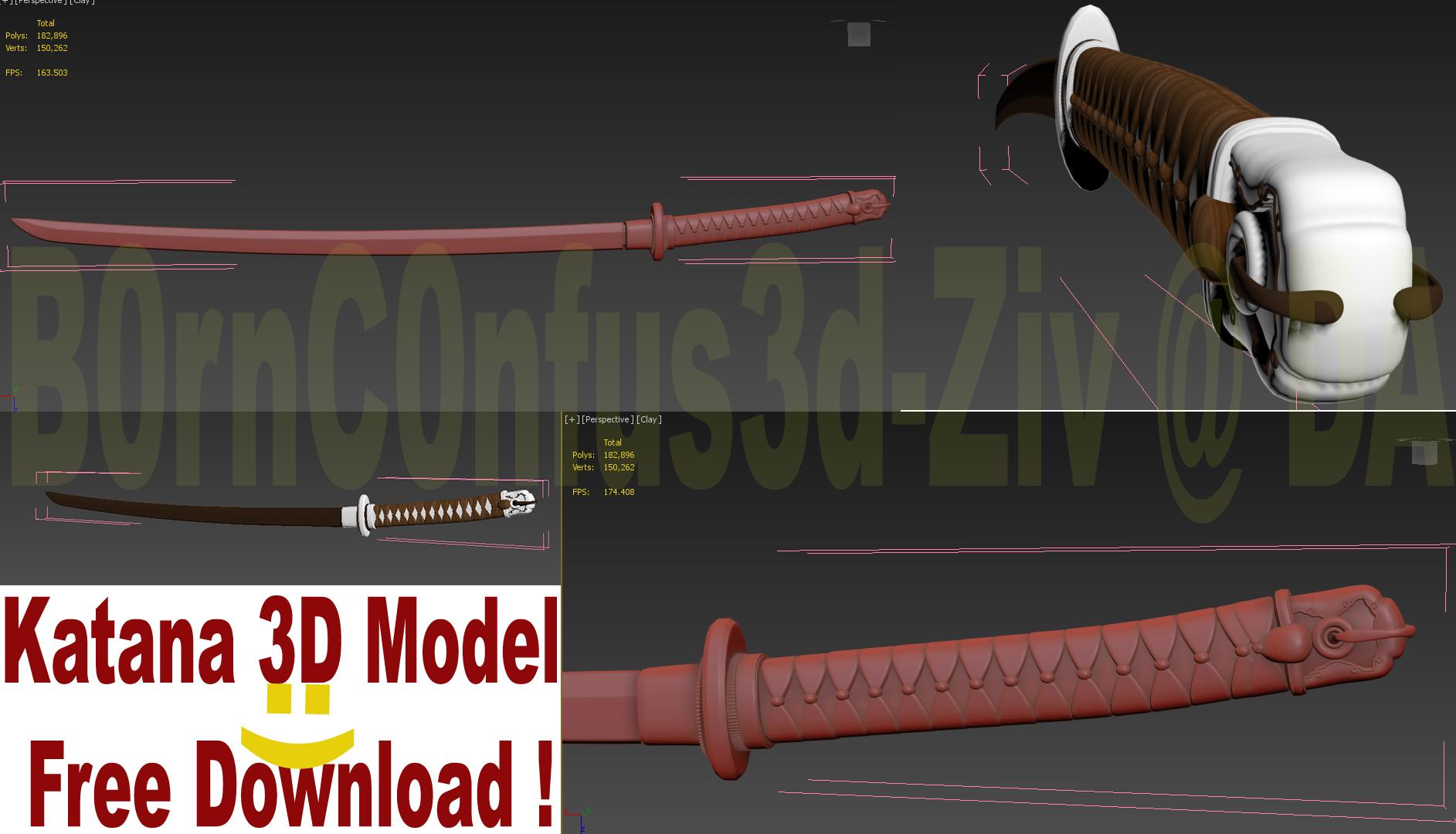 katana 3d model free download by b0rnc0nfus3d on deviantart. Black Bedroom Furniture Sets. Home Design Ideas