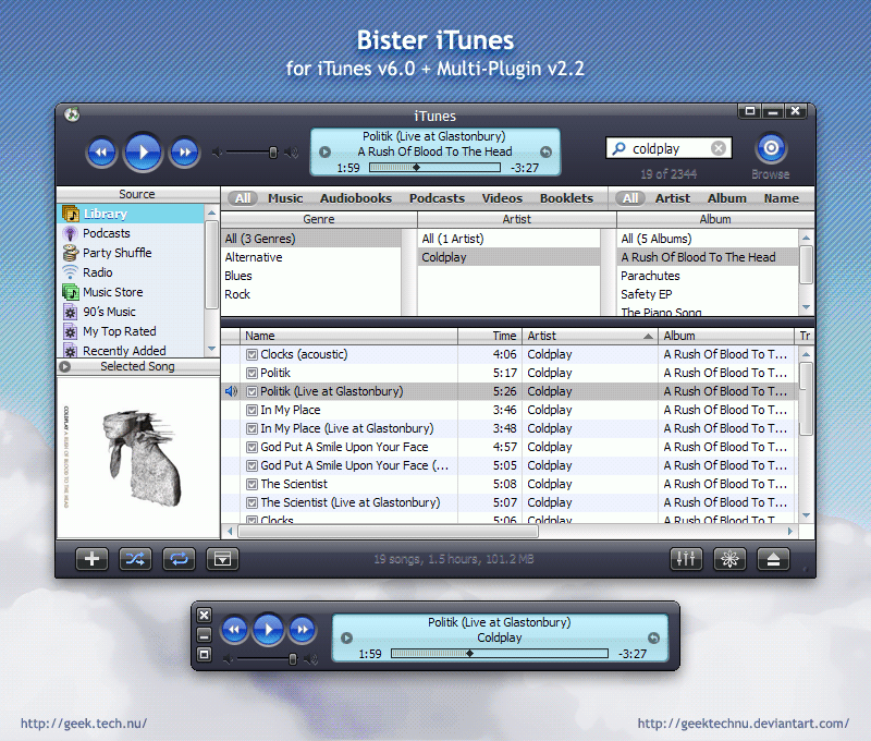 Bister for iTunes by geektechnu