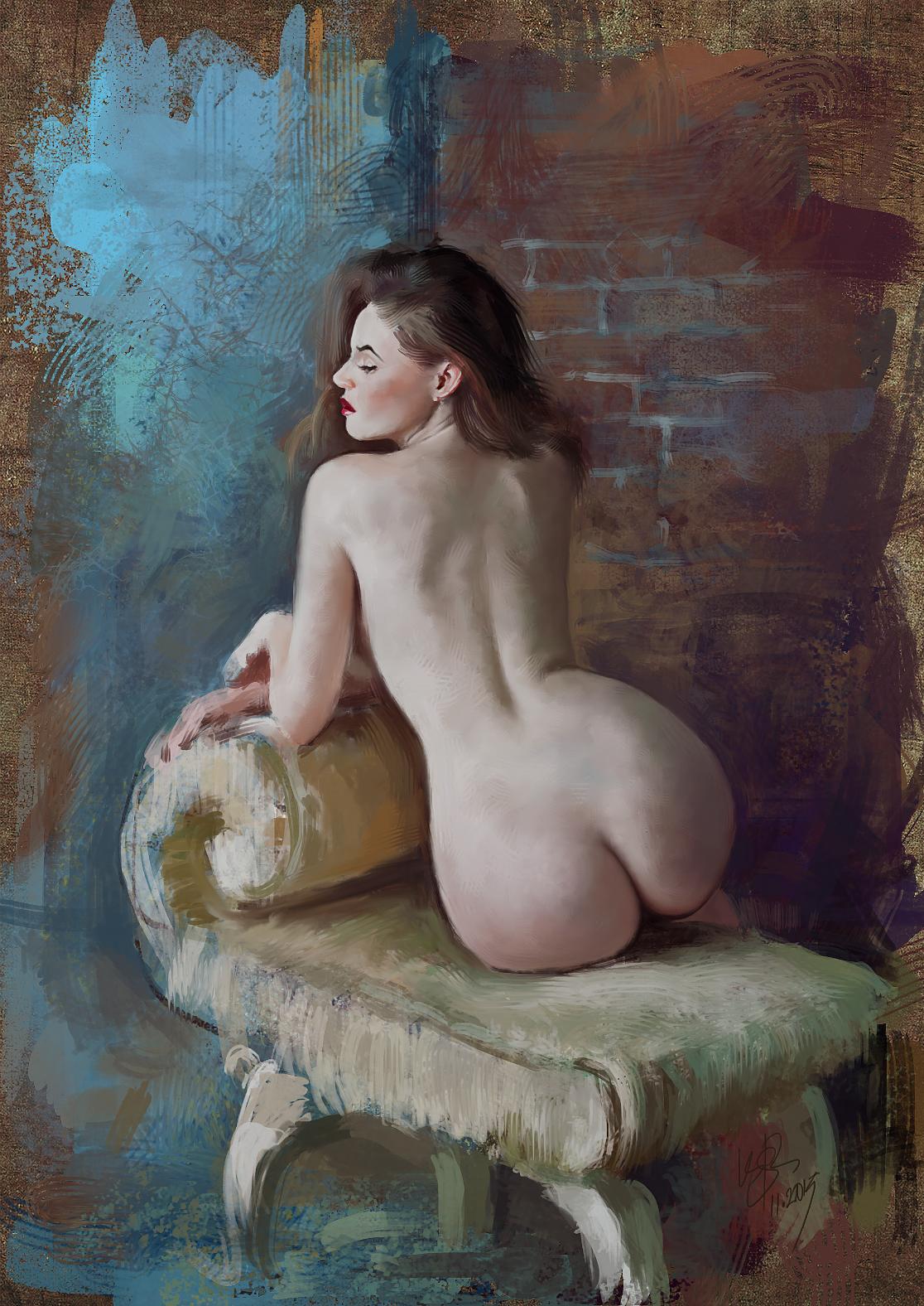 Naked paint artist