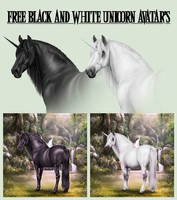 Free Black And White Unicorn Avatar