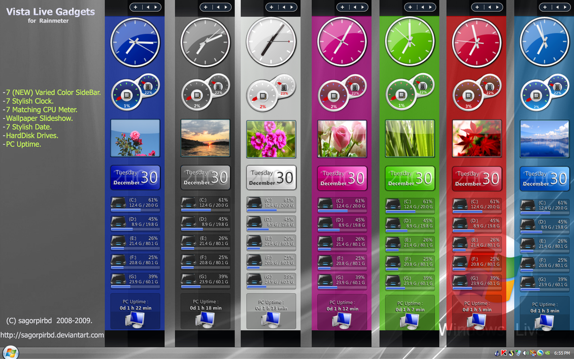 Vista Live Gadgets Rainmeter by sagorpirbd