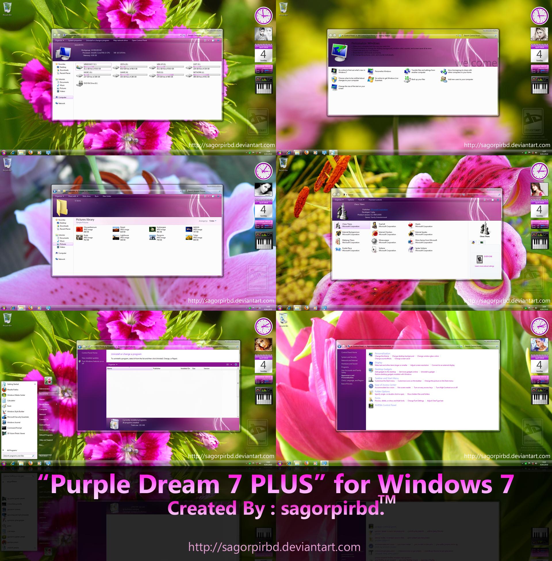 Purple Dream 7 PLUS for Win 7 by sagorpirbd