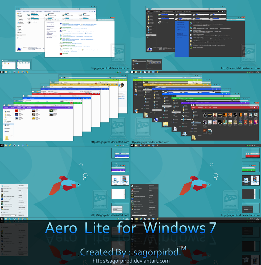Aero Lite 8/8.1 Theme for Windows 7 by sagorpirbd