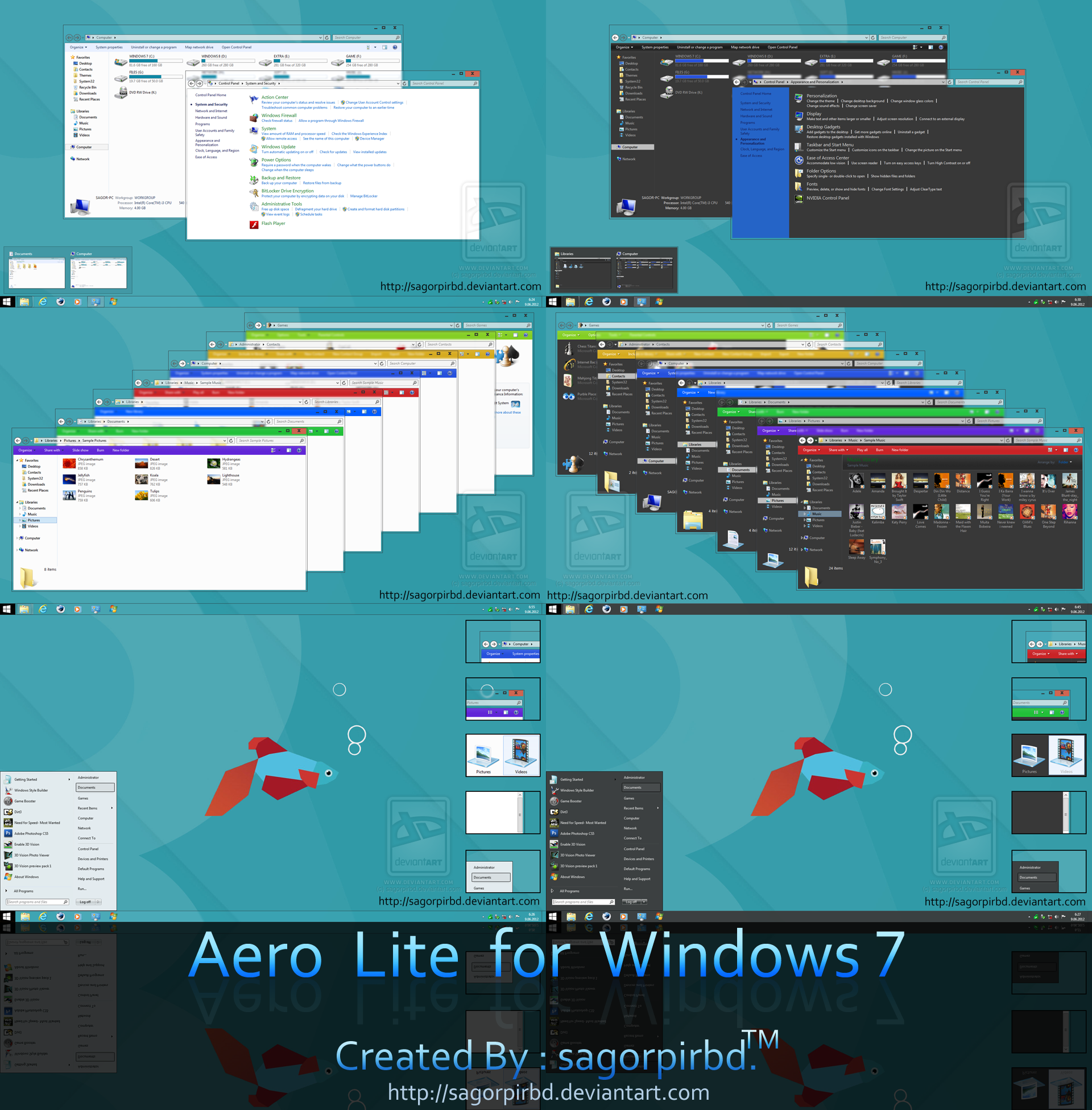 Aero Lite 8/8.1 Theme for Windows 7 by sagorpirbd
