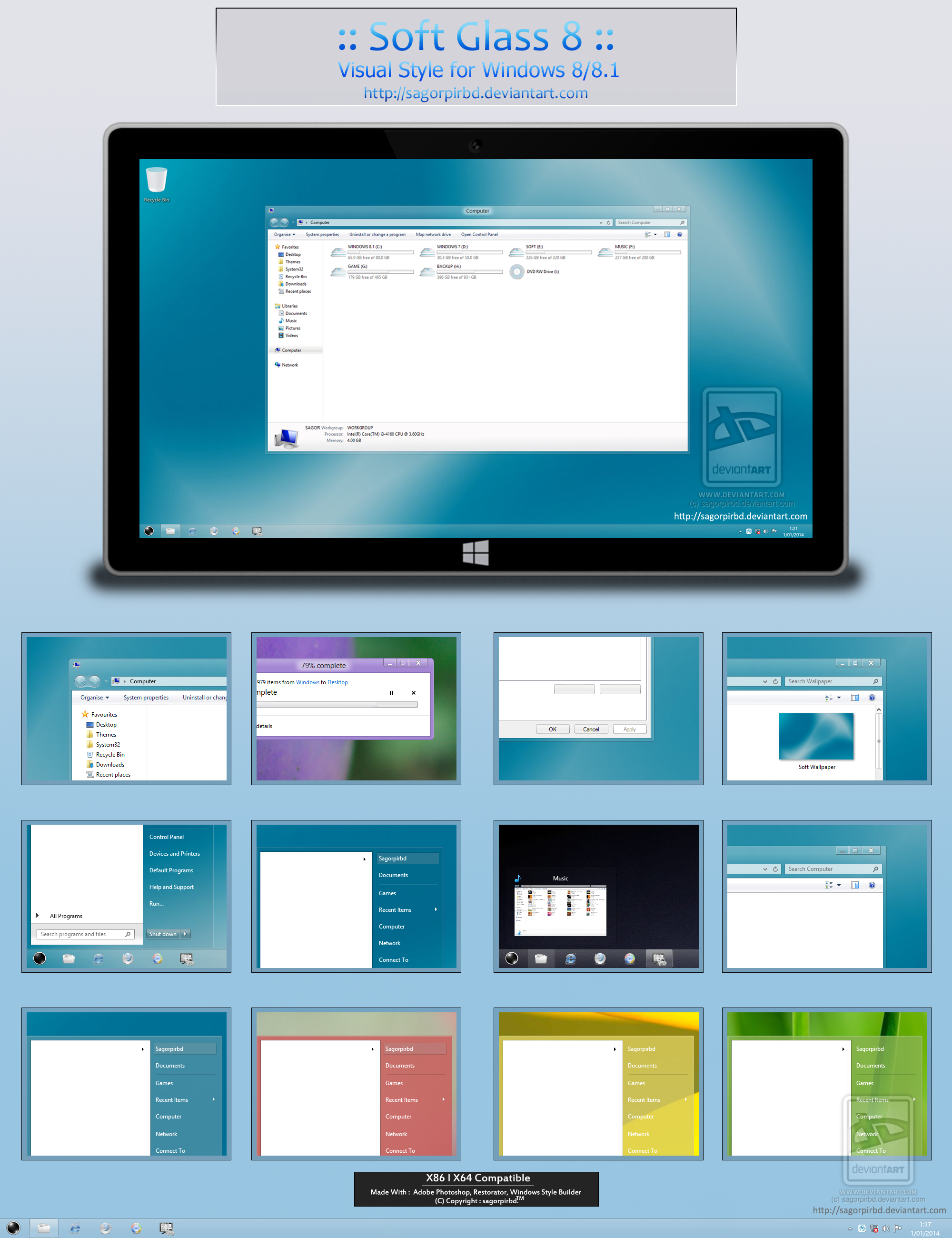 :: Soft Glass 8 :: for Win 8/8.1 by sagorpirbd