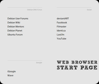 Web Browser Start Page
