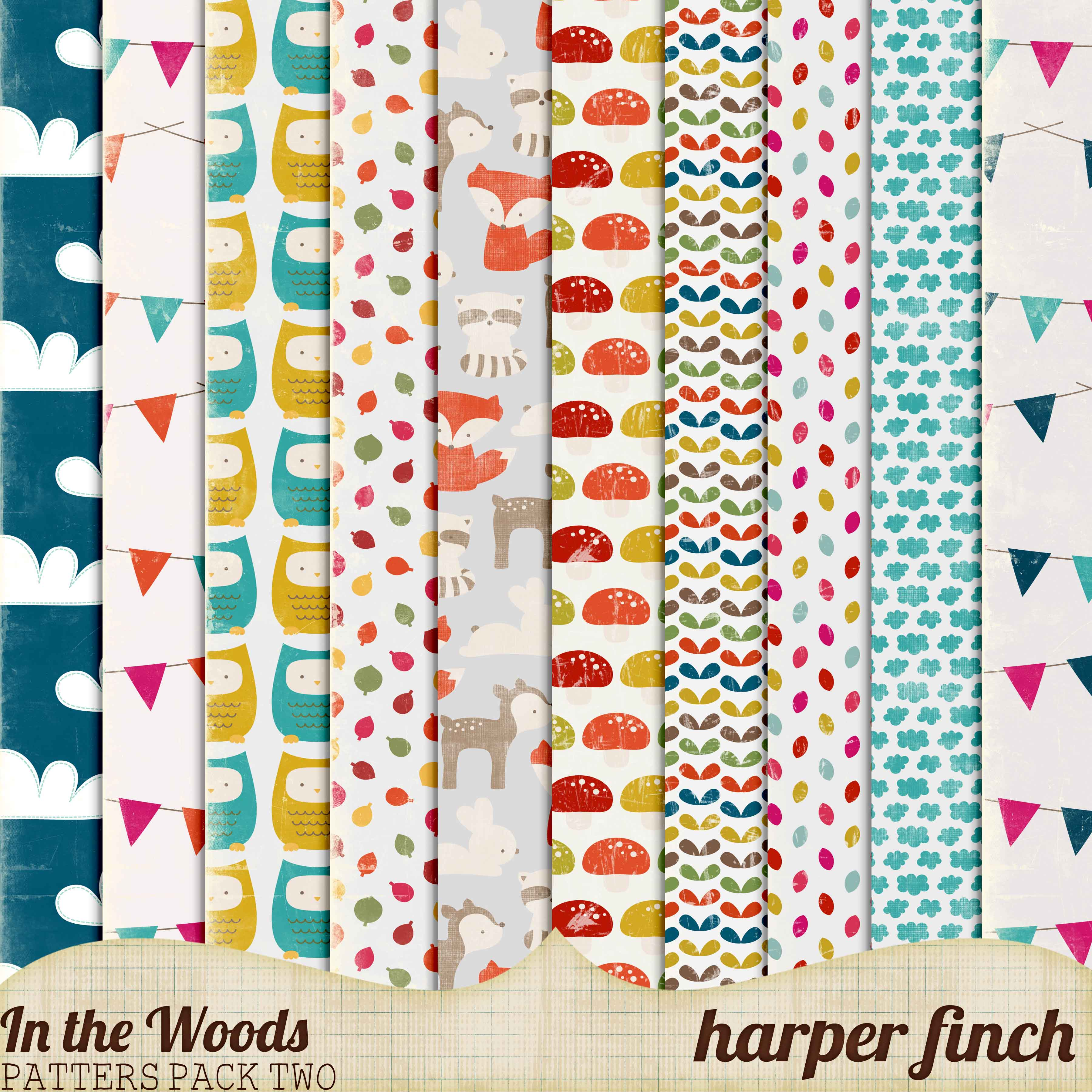 In the Woods Patterns Pack Two by Harper Finch