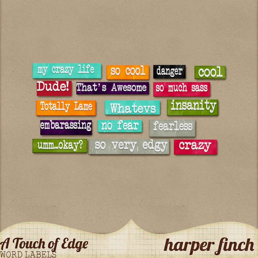 A Touch of Edge Word Bits by Harper Finch by harperfinch