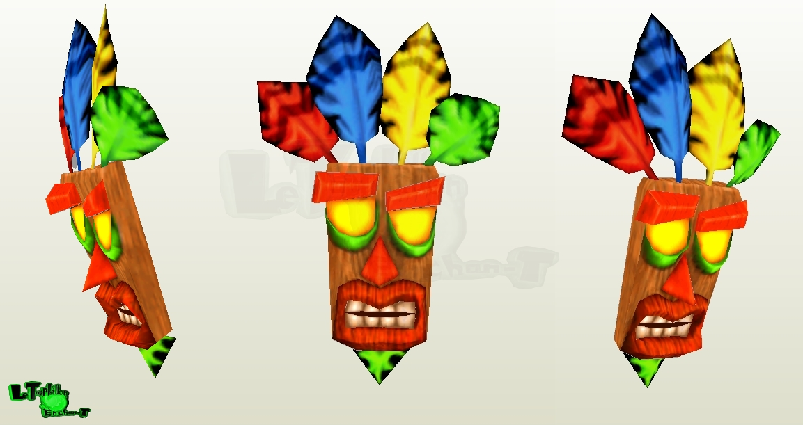 Crash Nitro Kart - Aku-Aku Mask - LTE-T Papercraft by LeTourbillonEnchanT