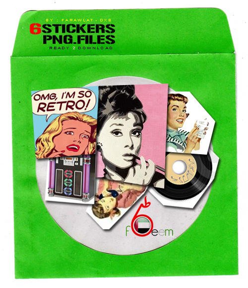 RETRO Stickers PNG by Farawlat-dxb
