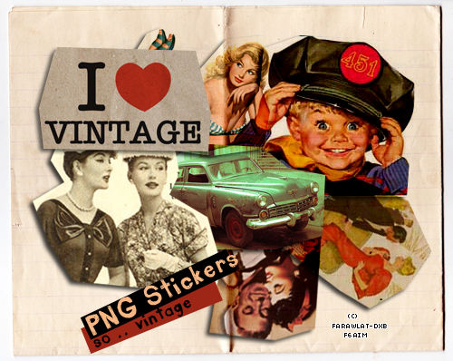 So..Vintage Stickers PNG