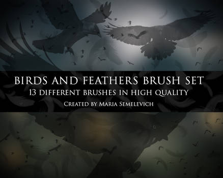 Birds and feather brush set