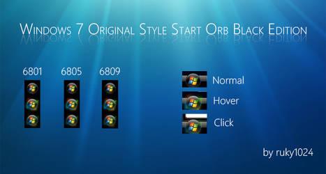 Windows 7 Original Style Start Orb Black Edition