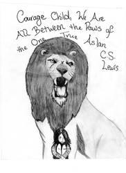 Aslan ~Between the Paws of the One True Aslan by JewelHarmony