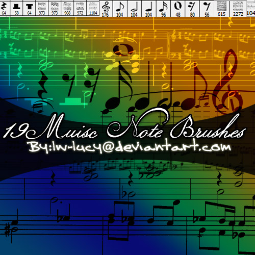 19 Pk Music Note Brushes