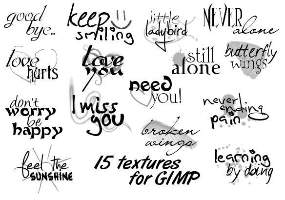 15 Text-brushes for GIMP by ArathenMerathiel