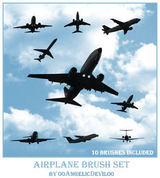 Airplane brush set by 00AngelicDevil00