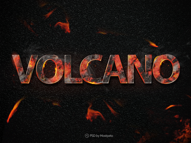 Psd volcano fire - Text Effect by mostpato