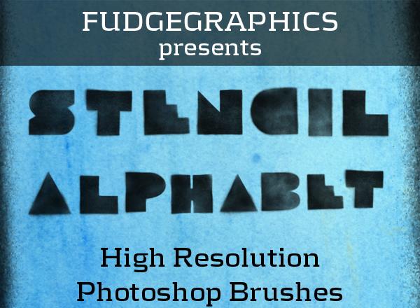 Stencil Alphabet Brush Set