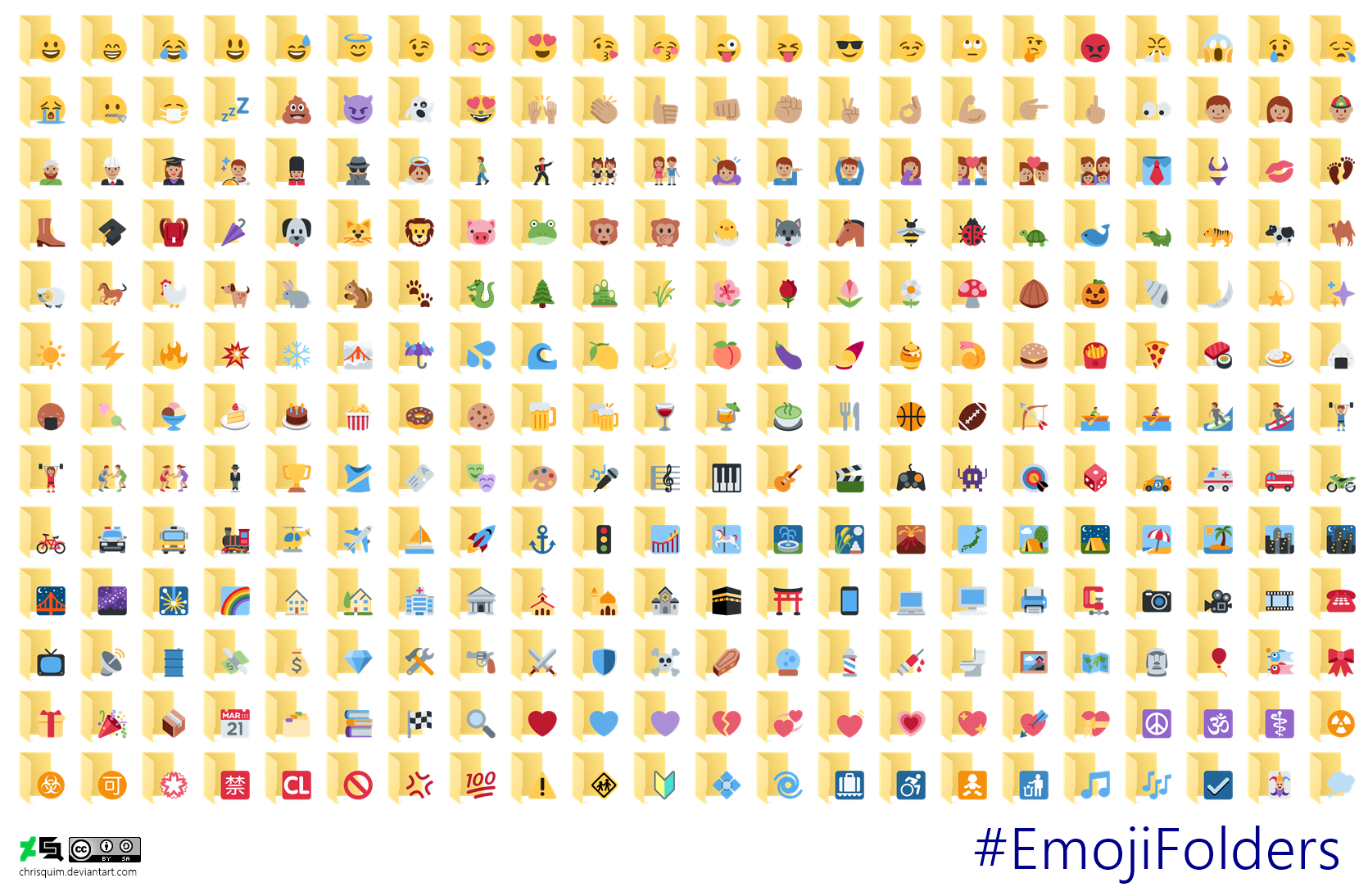#EmojiFolders - Windows 10 Folder Icon and Twemoji by