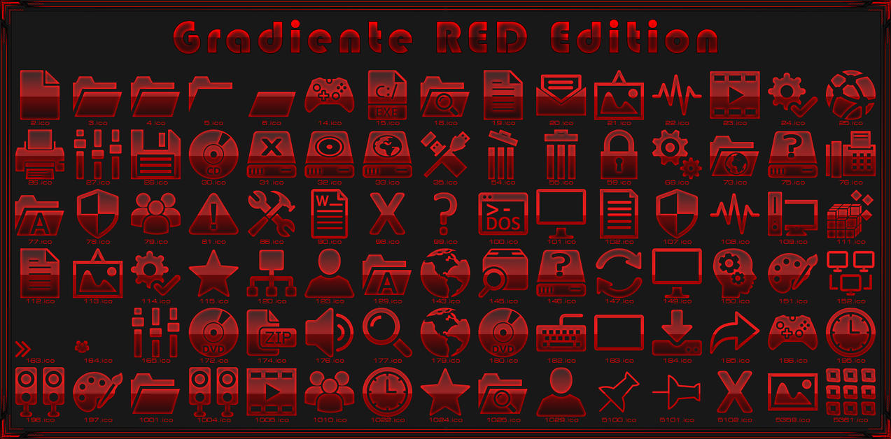 Gradiente Red IconPack for Win7/8.1/10