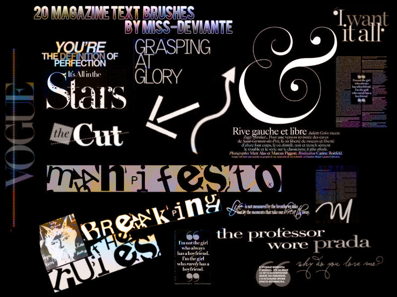 20 Magazine Text Brushes by Miss-deviantE