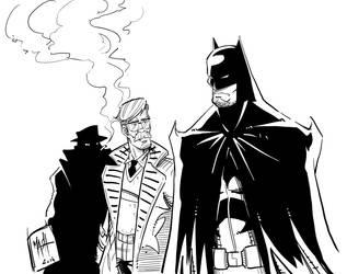 Batman and Gordon Inks by Rexbegonia